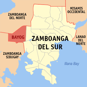 Map of Zamboanga del Sur showing the location of Bayog